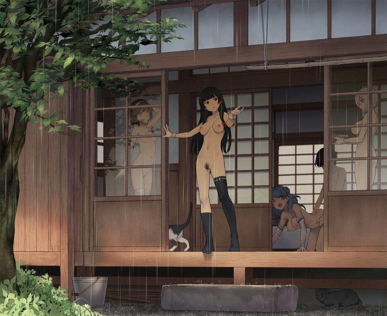 admiral_(kancolle) ass hamakaze_(kancolle) isokaze_(kancolle) kantai_collection naked neko nipples pubic_hair sex takemura_sesshu tanikaze_(kancolle) thighhighs urakaze_(kancolle)