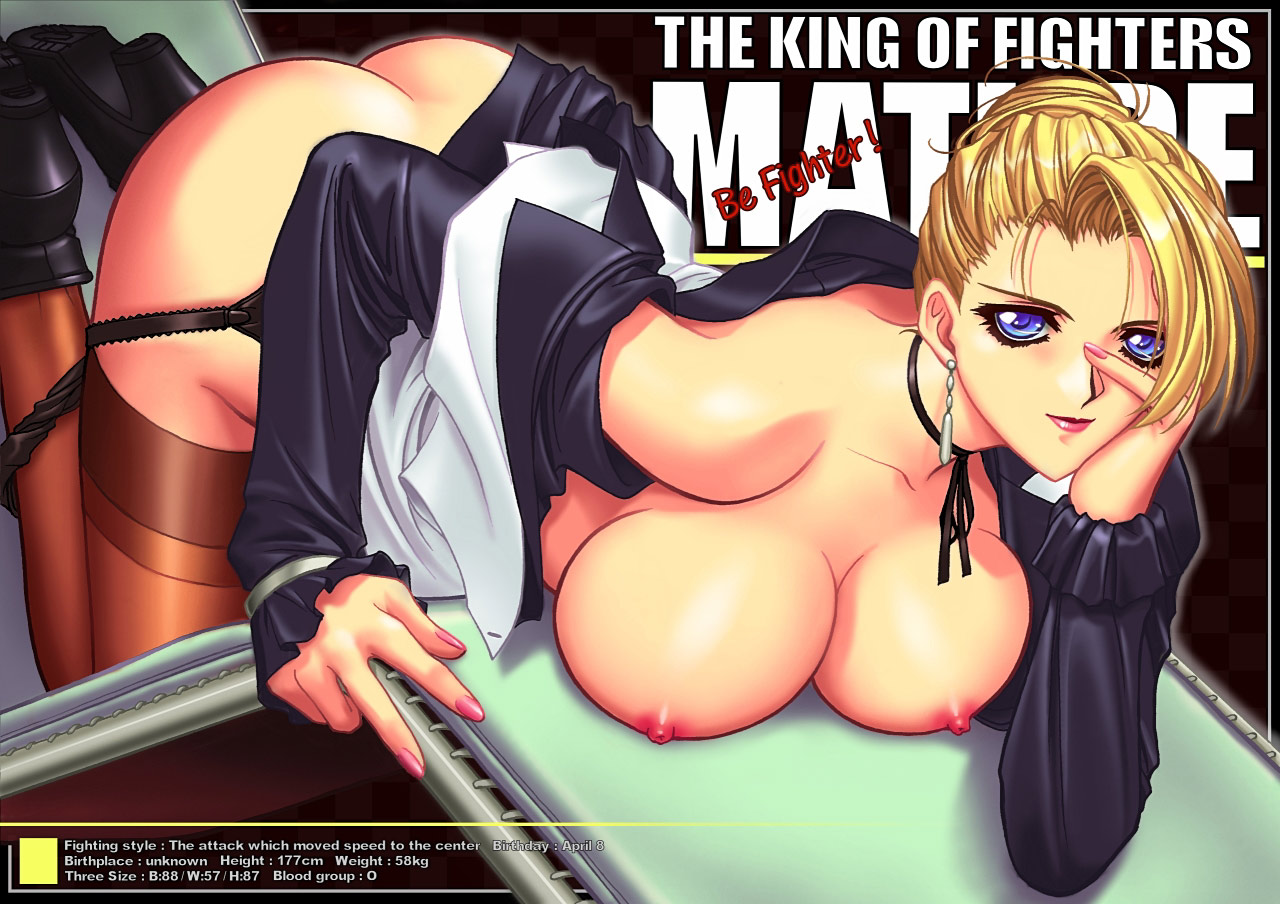breasts king_of_fighters mature nipples no_bra nopan open_shirt r1 stockings thighhighs