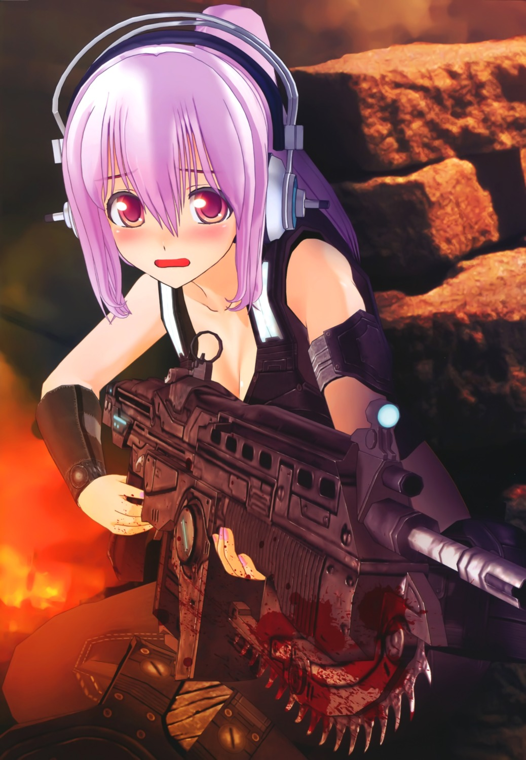 blood cg cleavage cosplay gears_of_war gun headphones sonico super_sonico tsuji_santa