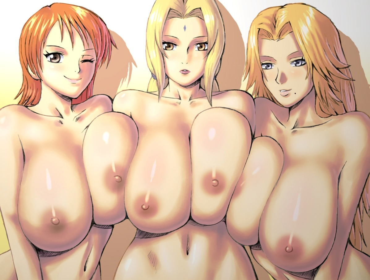apostle bleach crossover matsumoto_rangiku naked nami naruto nipples one_piece tsunade