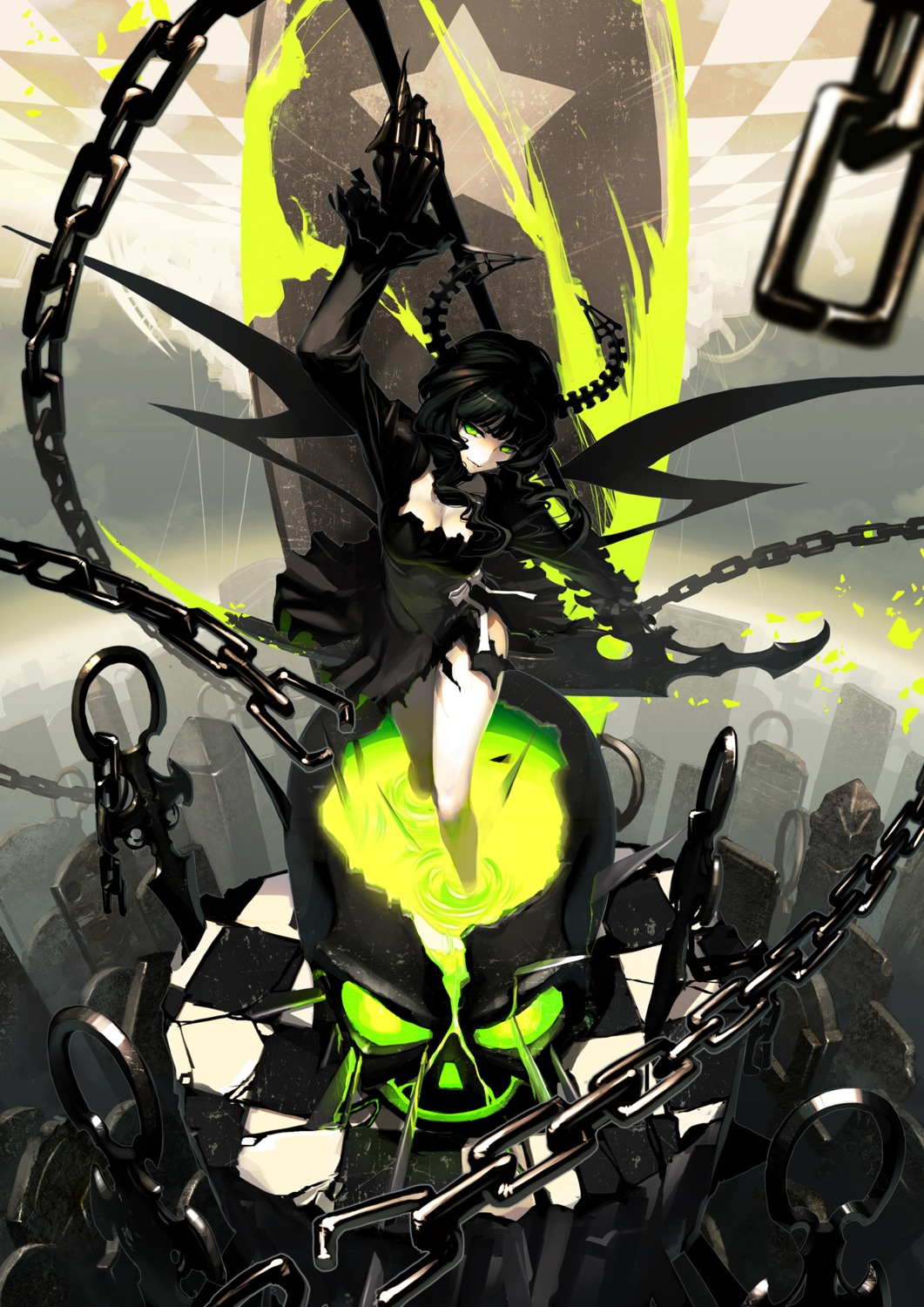 black_rock_shooter dead_master horns torn_clothes tsunekun vocaloid