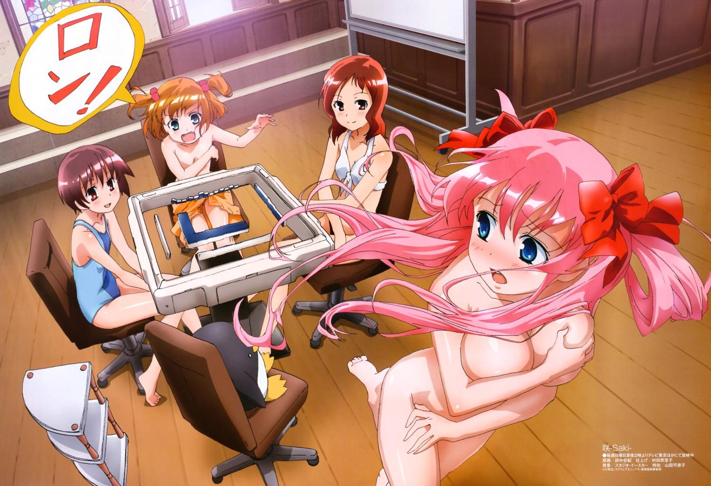 bikini breast_grab breast_hold haramura_nodoka kataoka_yuuki miyanaga_saki naked saki school_swimsuit swimsuits takei_hisa tanaka_hironori topless