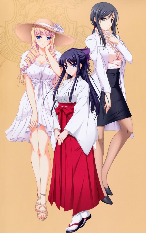bertille_althusser cleavage dress hiiragi_ayako komori_kei miko pantyhose ricotta ryuuzouji_akane walkure_romanze