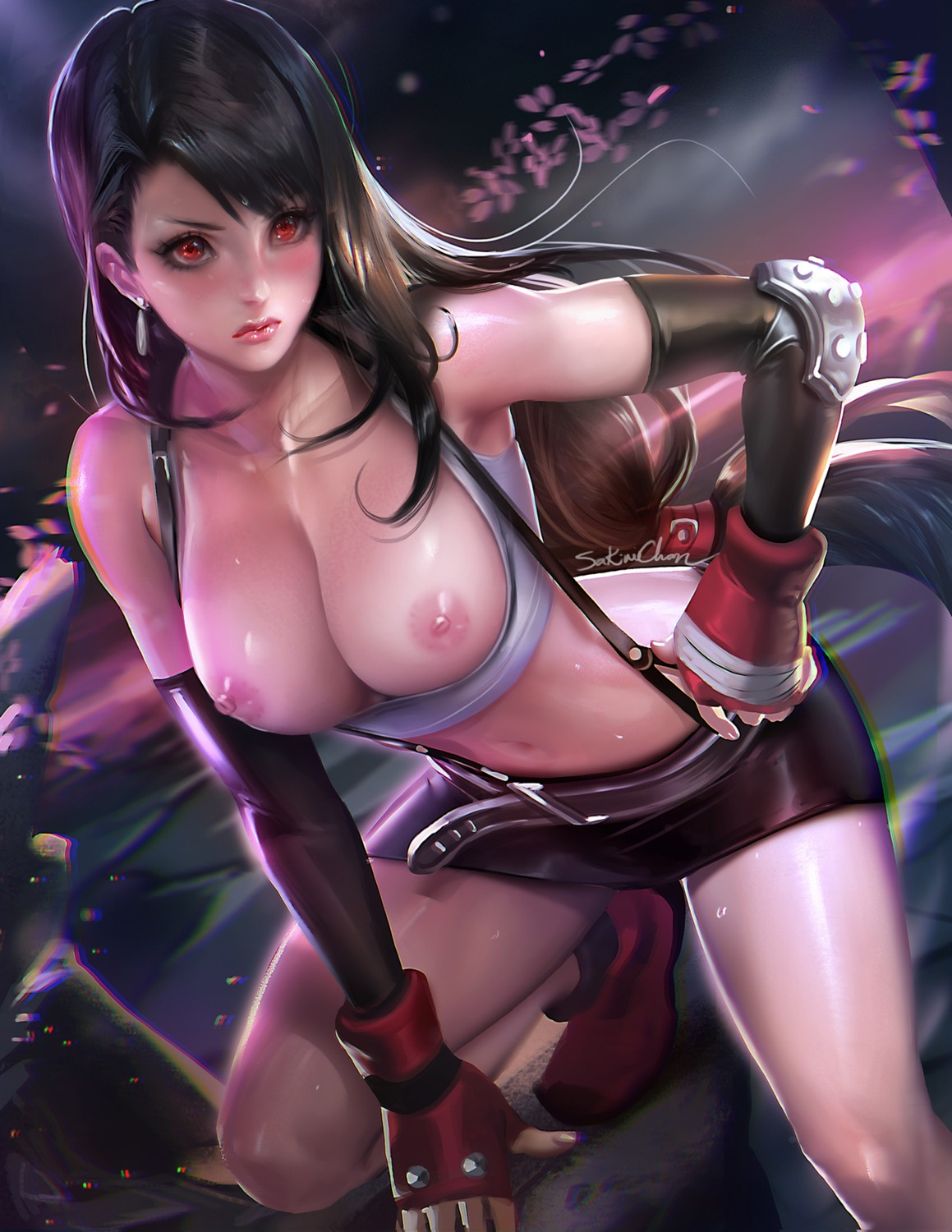 autographed breasts final_fantasy final_fantasy_vii nipples no_bra open_shirt sakimichan tifa_lockhart