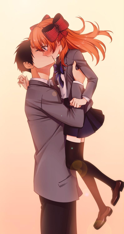 g_scream gekkan_shoujo_nozaki-kun nozaki_umetarou sakura_chiyo seifuku thighhighs