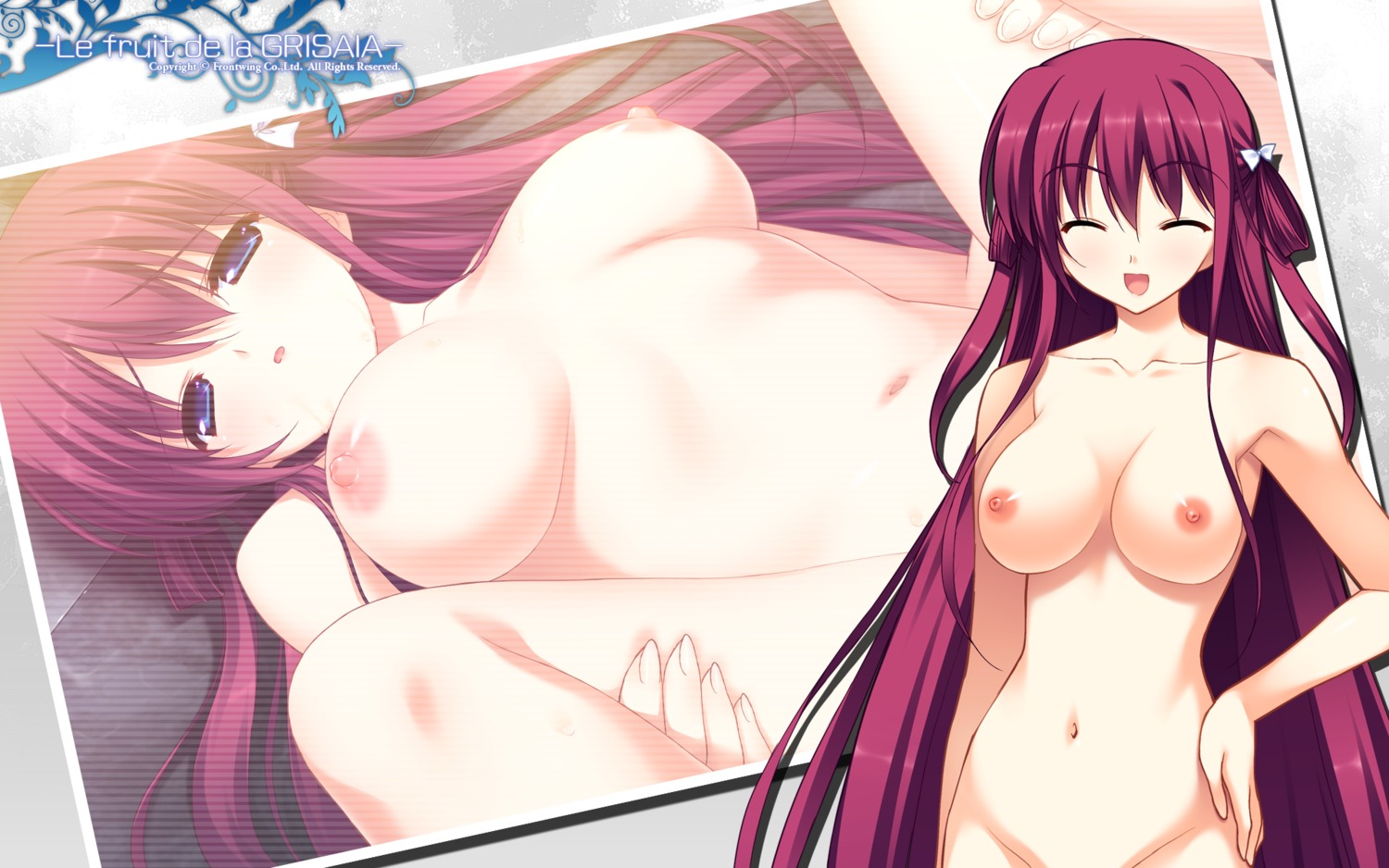 front_wing fumio grisaia_no_kajitsu naked nipples suou_amane wallpaper