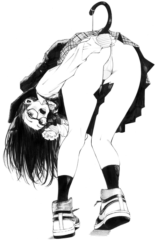 animal_ears ass cameltoe gagaimo monochrome nekomimi pantsu skirt_lift tail thong