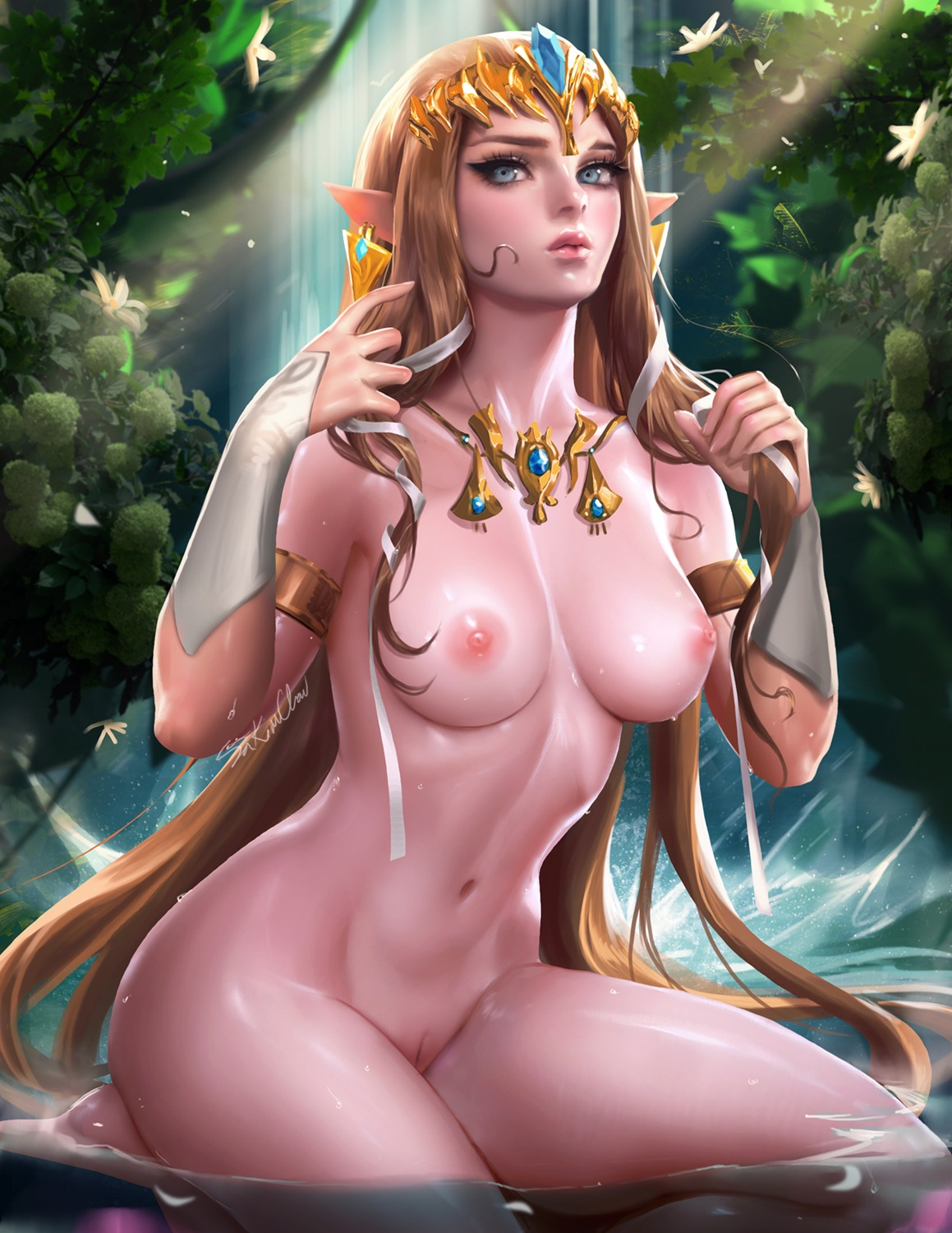 naked pointy_ears princess_zelda pussy sakimichan the_legend_of_zelda wet