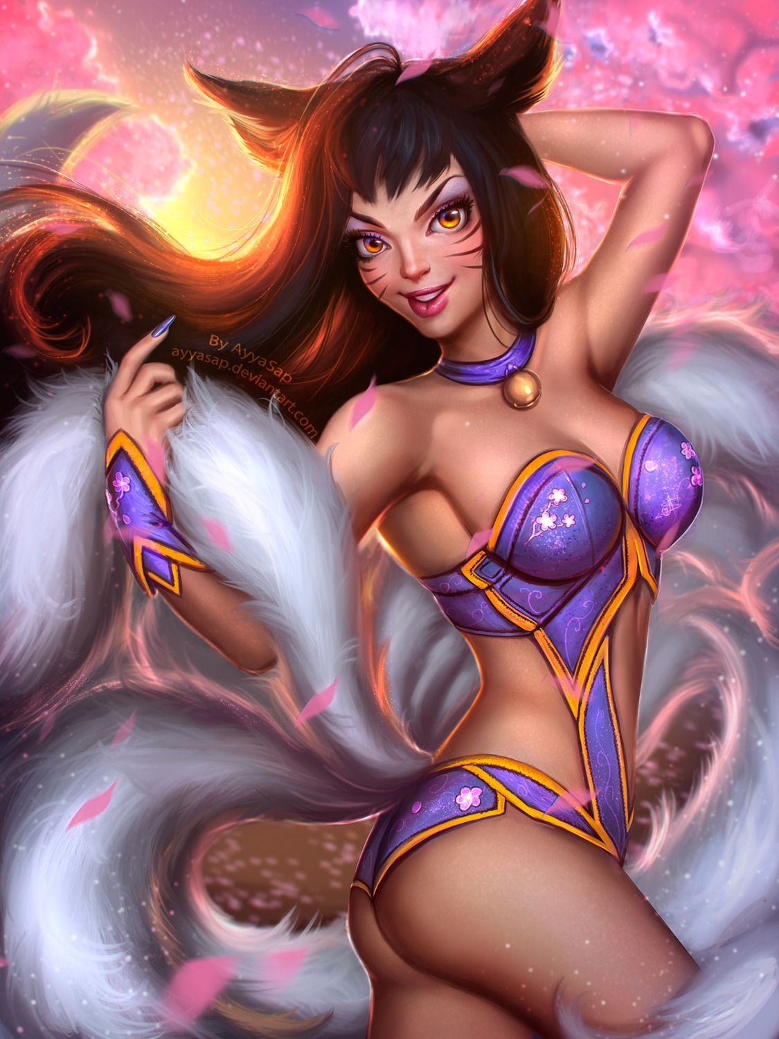 ahri animal_ears ass ayyasap bikini_armor cleavage kitsune league_of_legends tail