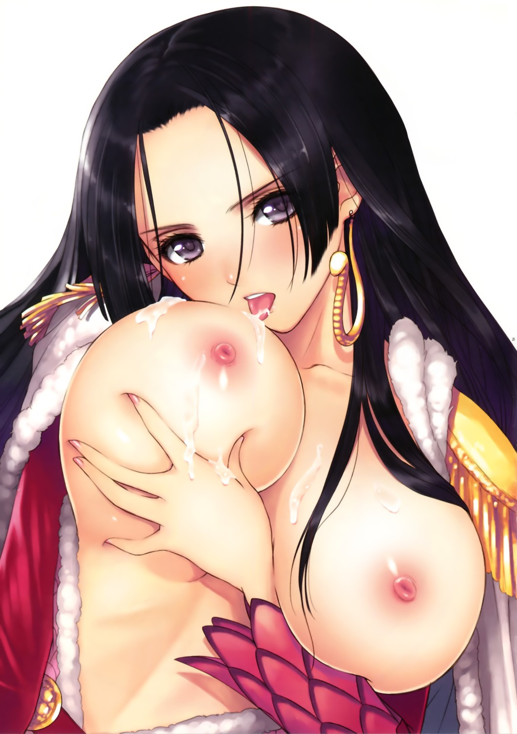 boa_hancock breast_grab breasts cum nipples no_bra one_piece open_shirt tony_taka