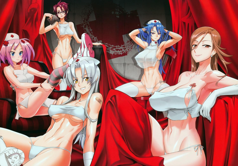 bandaid cleavage erect_nipples hitsugi_sayo inazuma kiba_mikoto megane nurse pantsu sagiri_yuuko see_through string_panties suzue_konomi thighhighs triage_x underboob
