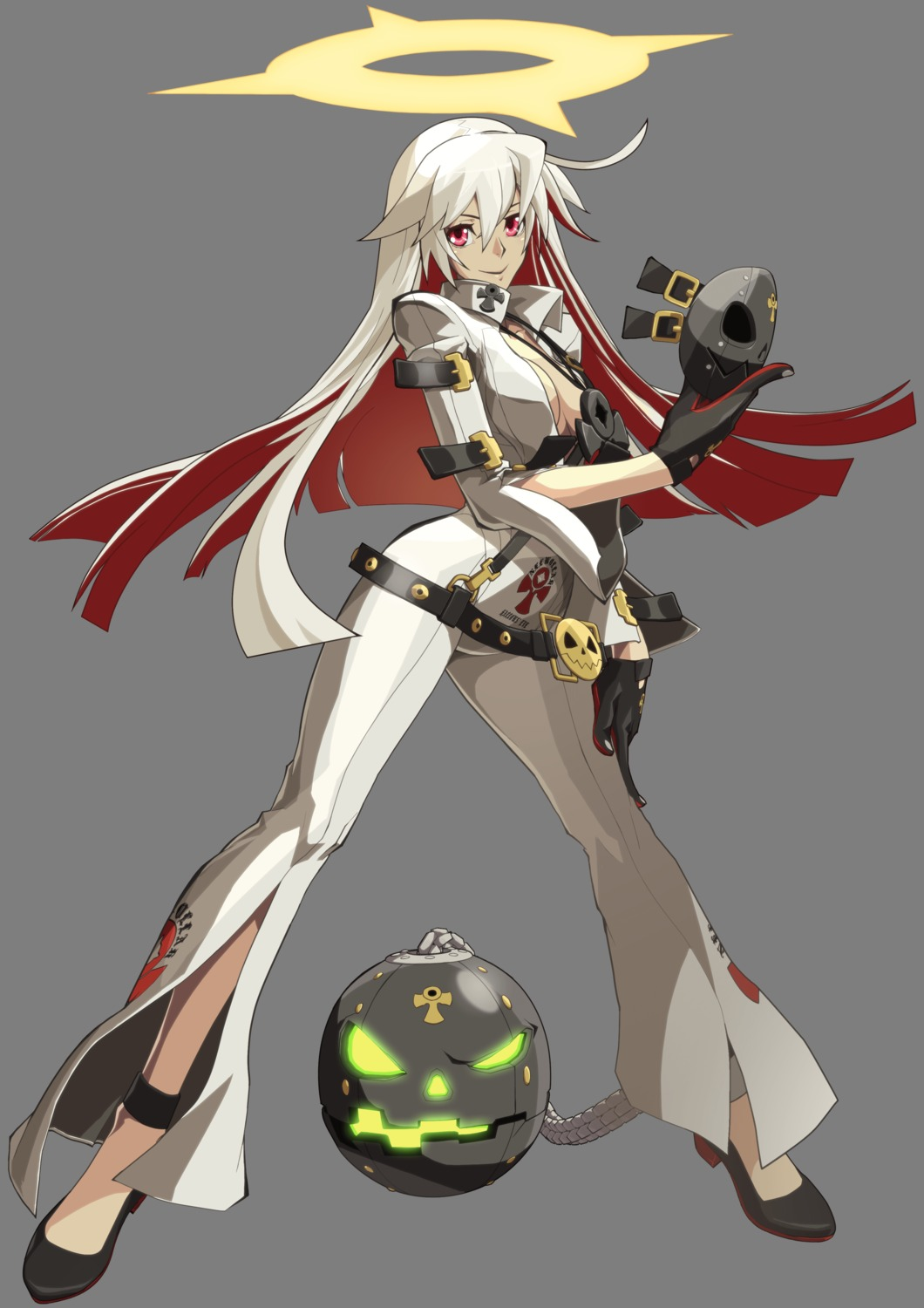 bodysuit cleavage guilty_gear guilty_gear_xrd_revelator heels jack-o no_bra open_shirt transparent_png