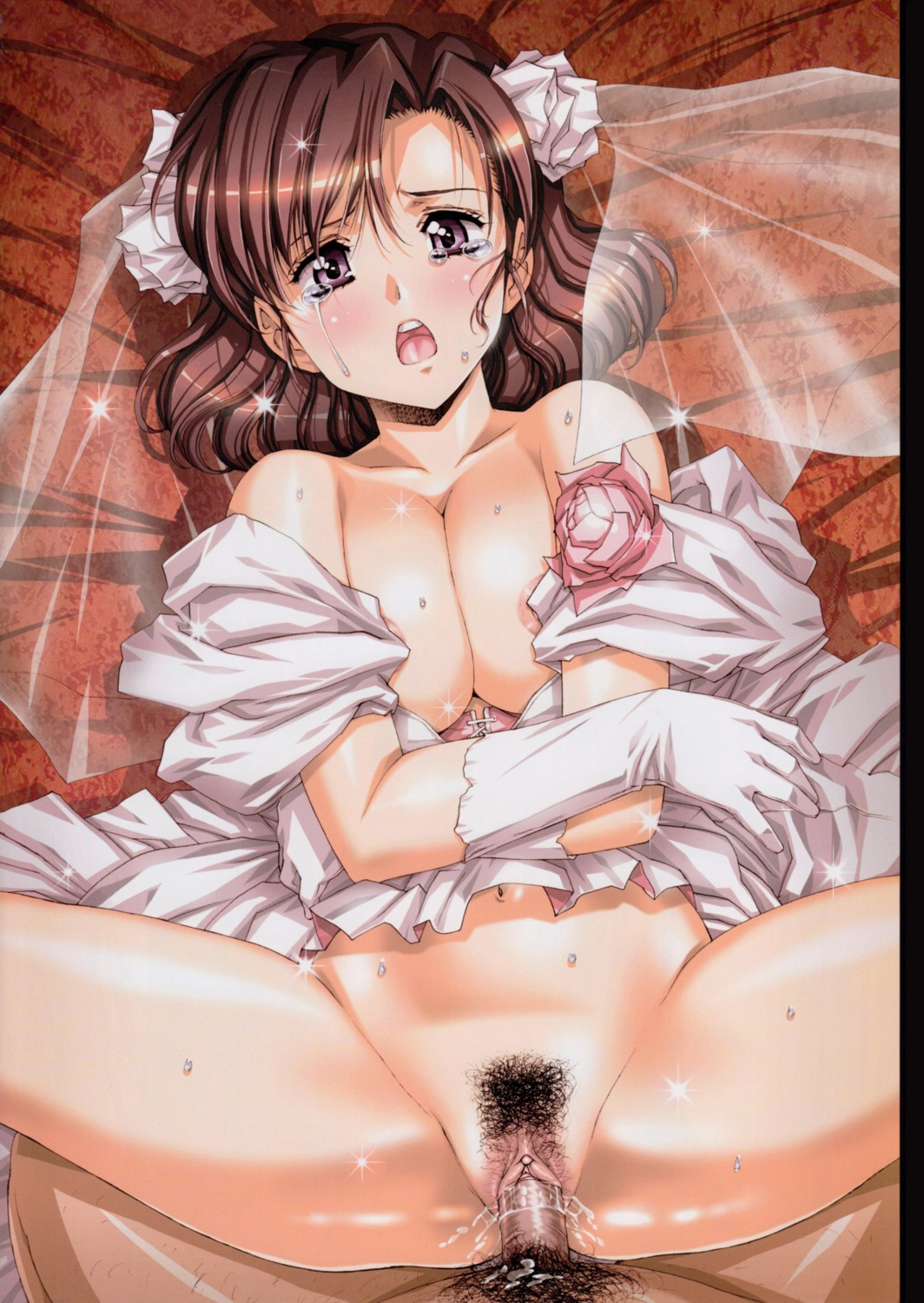 areola cleavage dress jpeg_artifacts nopan penis pubic_hair pussy pussy_juice sex uncensored urushihara_satoshi wedding_dress