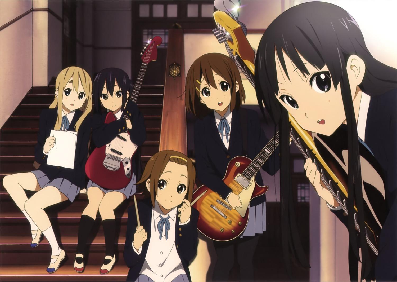 akiyama_mio guitar hirasawa_yui k-on! kotobuki_tsumugi nakano_azusa pantyhose seifuku tainaka_ritsu
