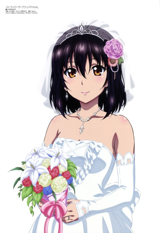 dress furukawa_hideki himeragi_yukina no_bra strike_the_blood wedding_dress