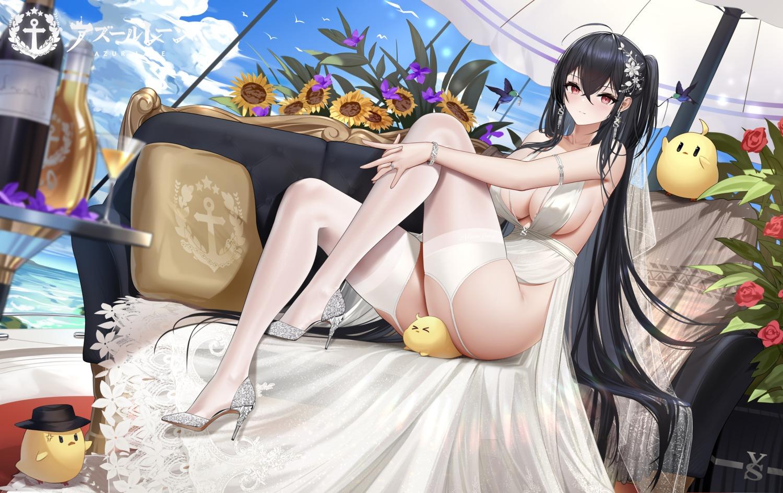 azur_lane cc_xiaotintin dress heels manjuu_(azur_lane) no_bra nopan skirt_lift stockings taihou_(azur_lane) thighhighs wedding_dress