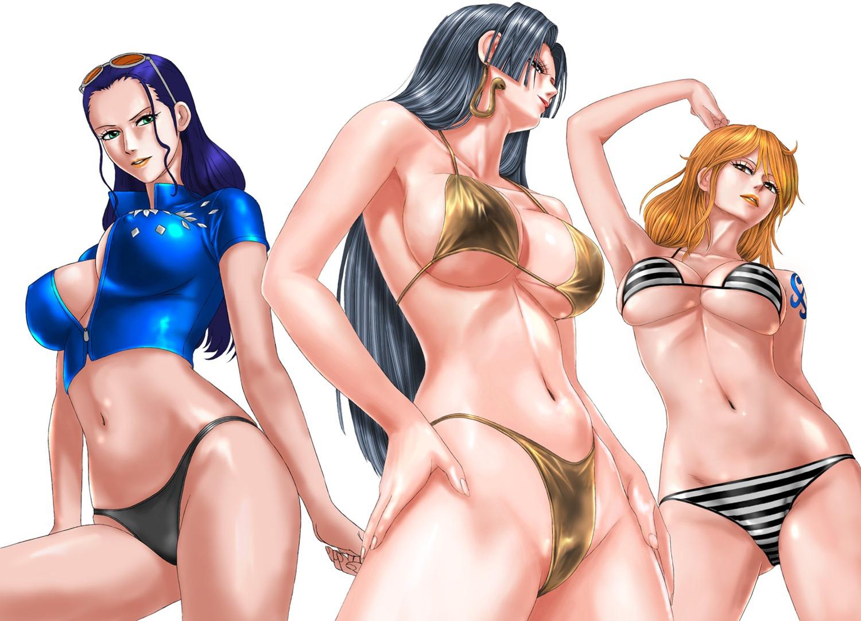 bikini boa_hancock cleavage erect_nipples megane nami nico_robin no_bra one_piece open_shirt pantsu swimsuits tattoo toten underboob