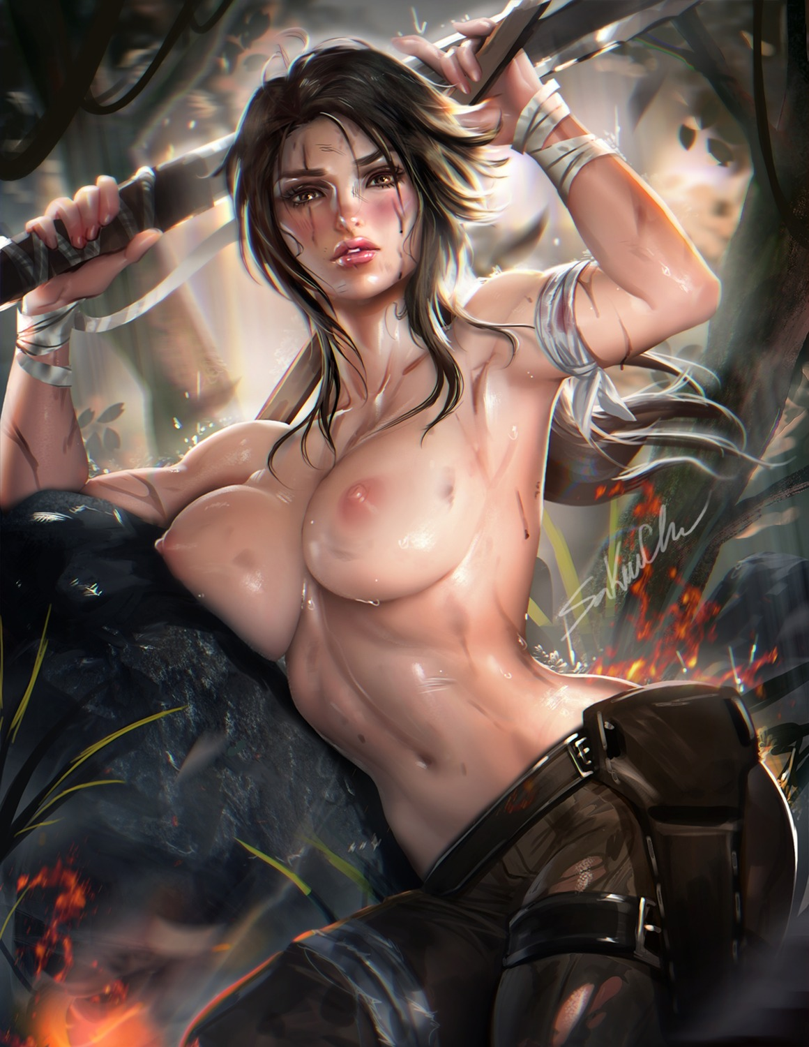bandages blood lara_croft nipples sakimichan tomb_raider topless weapon