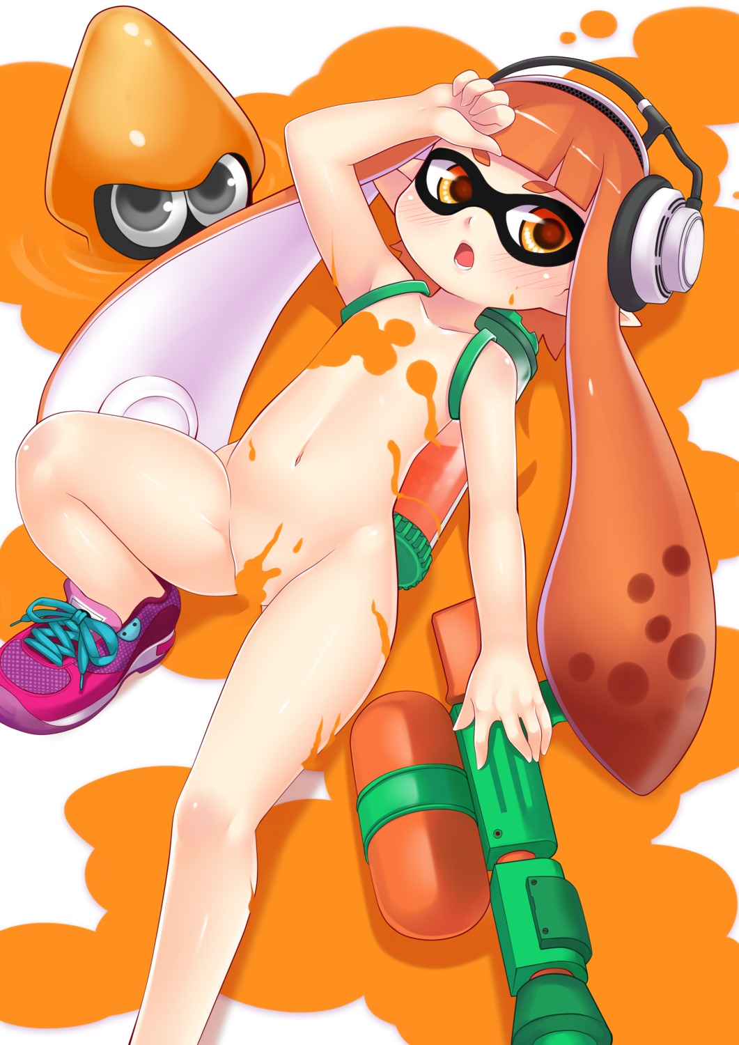 gun headphones inkling_(splatoon) loli megane naked ookami_ryuu pointy_ears splatoon
