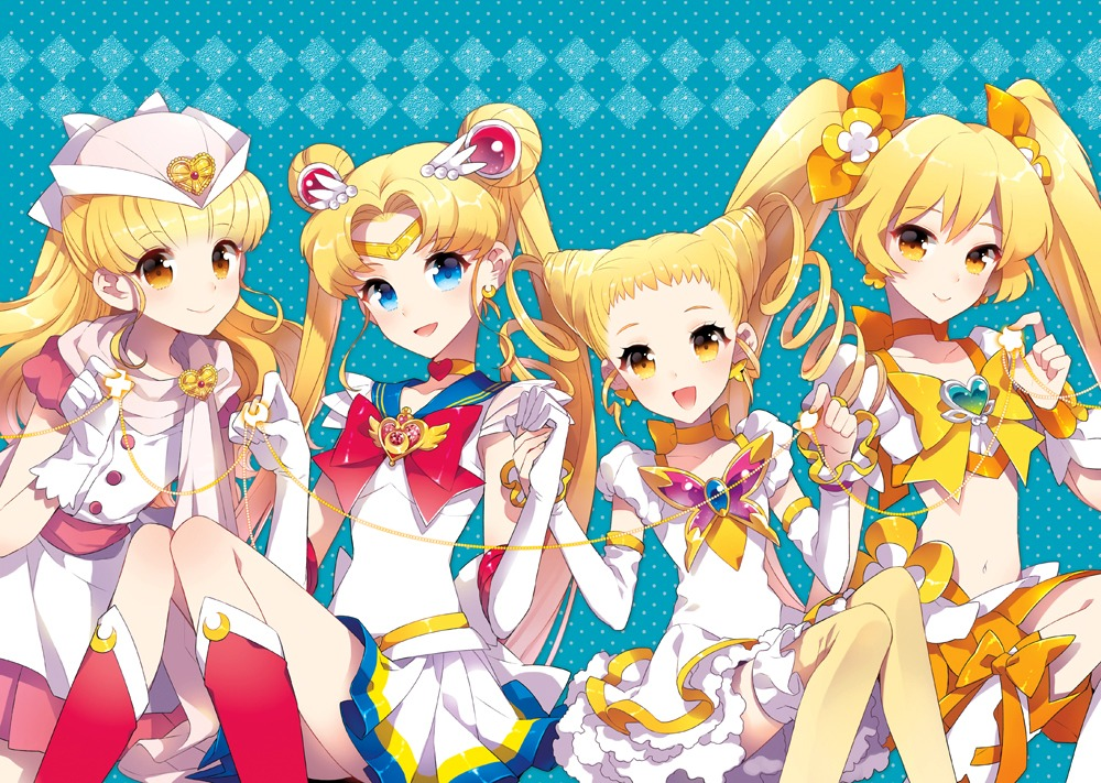 crossover heartcatch_pretty_cure! kasugano_urara moriya_ririka myoudouin_itsuki nardack nurse_angel_ririka_sos pretty_cure sailor_moon thighhighs tsukino_usagi yes!_precure_5