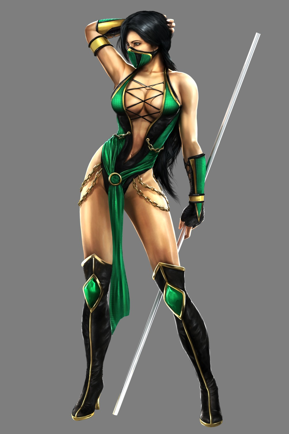 cg cleavage jade leotard mortal_kombat mortal_kombat_(2011) ninja thighhighs transparent_png weapon