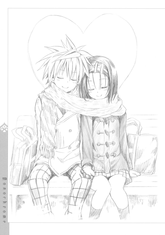 monochrome sairenji_haruna seifuku sketch to_love_ru to_love_ru_darkness yabuki_kentarou yuuki_rito