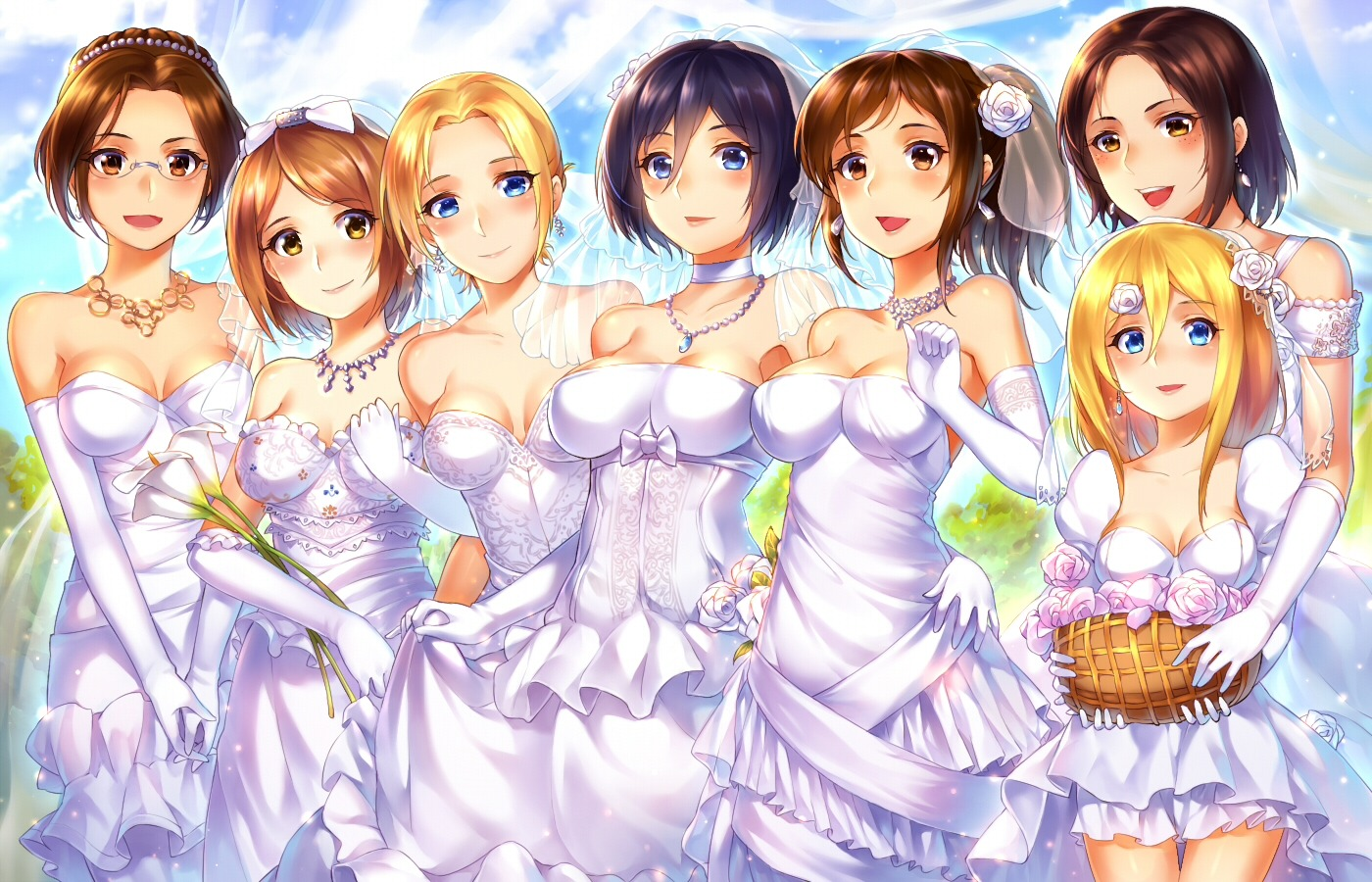 annie_leonhardt christa_lenz cleavage dress hanji_zoe megane mikasa_ackerman petra_ral sasha_browse shingeki_no_kyojin suika01 wedding_dress ymir_(shingeki_no_kyojin)