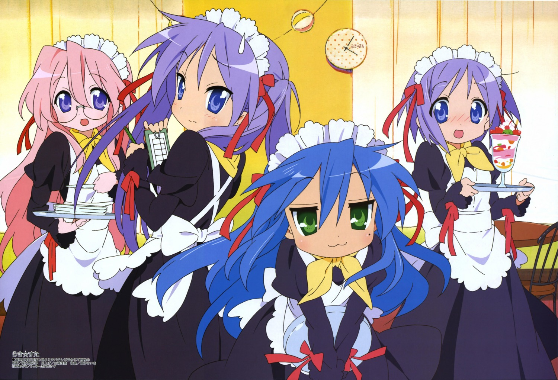 hiiragi_kagami hiiragi_tsukasa horiguchi_yukiko izumi_konata lucky_star maid megane takara_miyuki