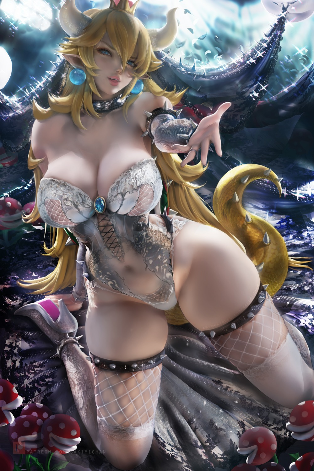 bowsette fishnets heels horns leotard new_super_mario_bros._u_deluxe no_bra pointy_ears sakimichan see_through tail thighhighs