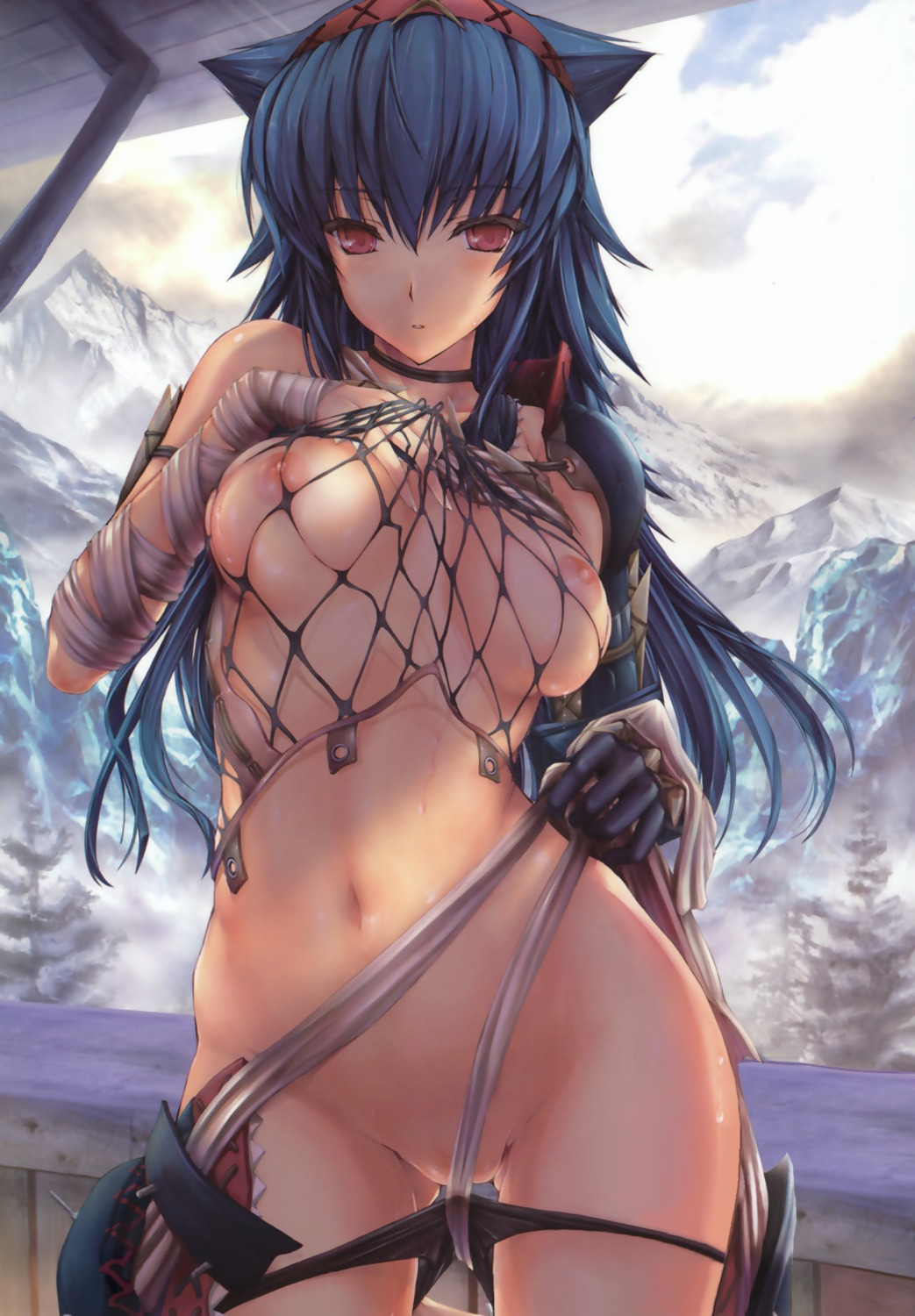 breasts fishnets kizuki_aruchu monster_hunter naruga nipples panty_pull udon-ya