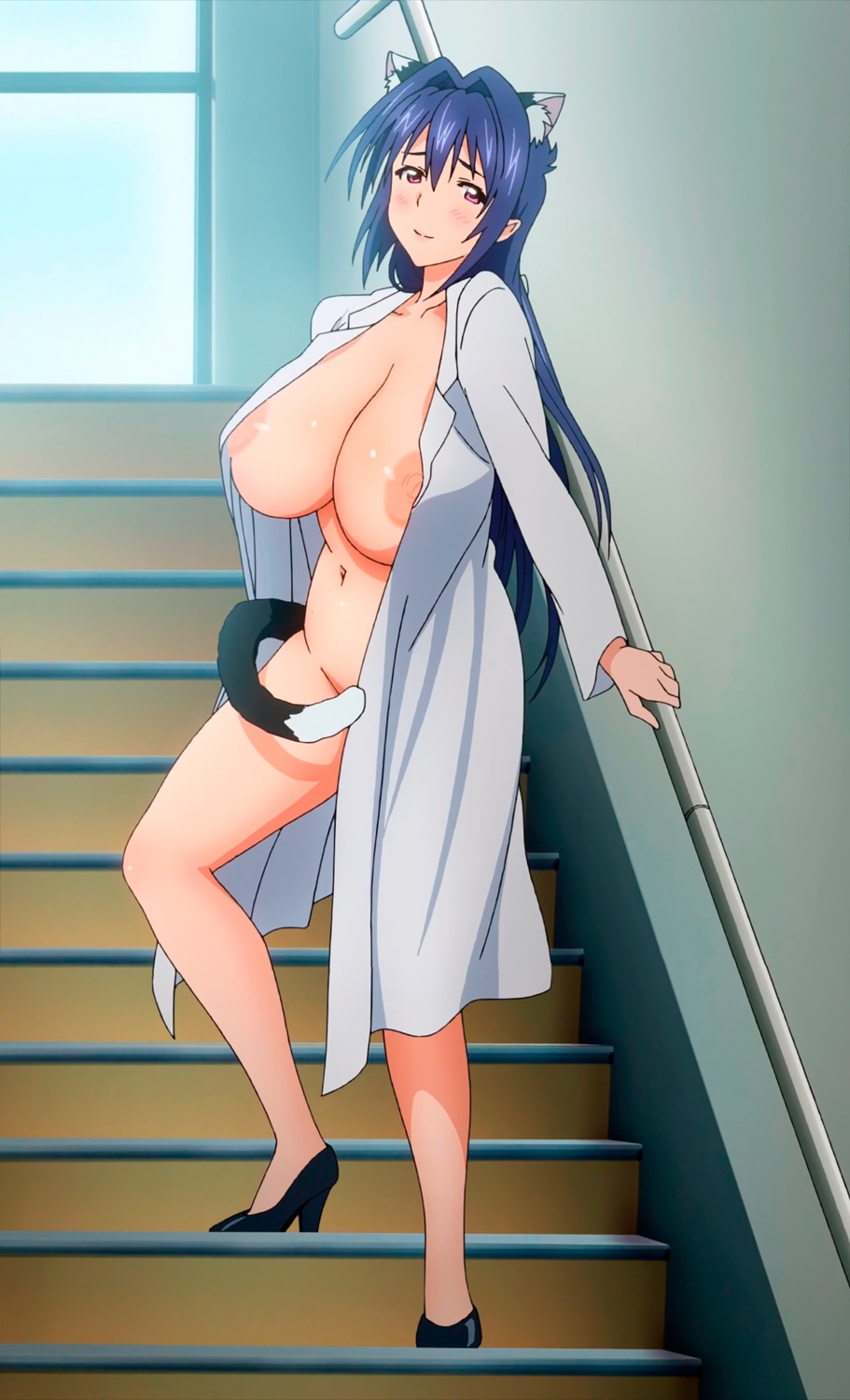 animal_ears bottomless breasts cap heels maken-ki! nekomimi nijou_aki nipples no_bra nurse open_shirt tail takami_akio