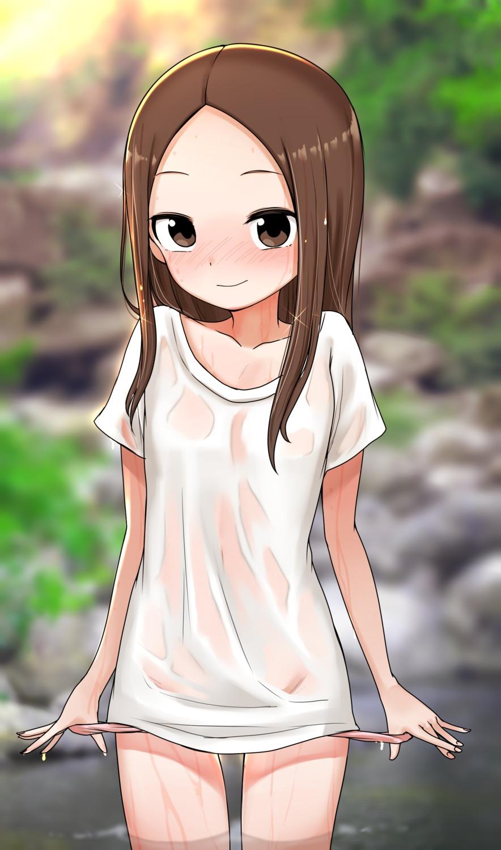 karakai_jouzu_no_takagi-san loli no_bra note2000 pantsu panty_pull see_through takagi-san undressing wet wet_clothes