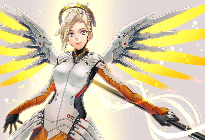 bodysuit mercy_(overwatch) overwatch wedo wings