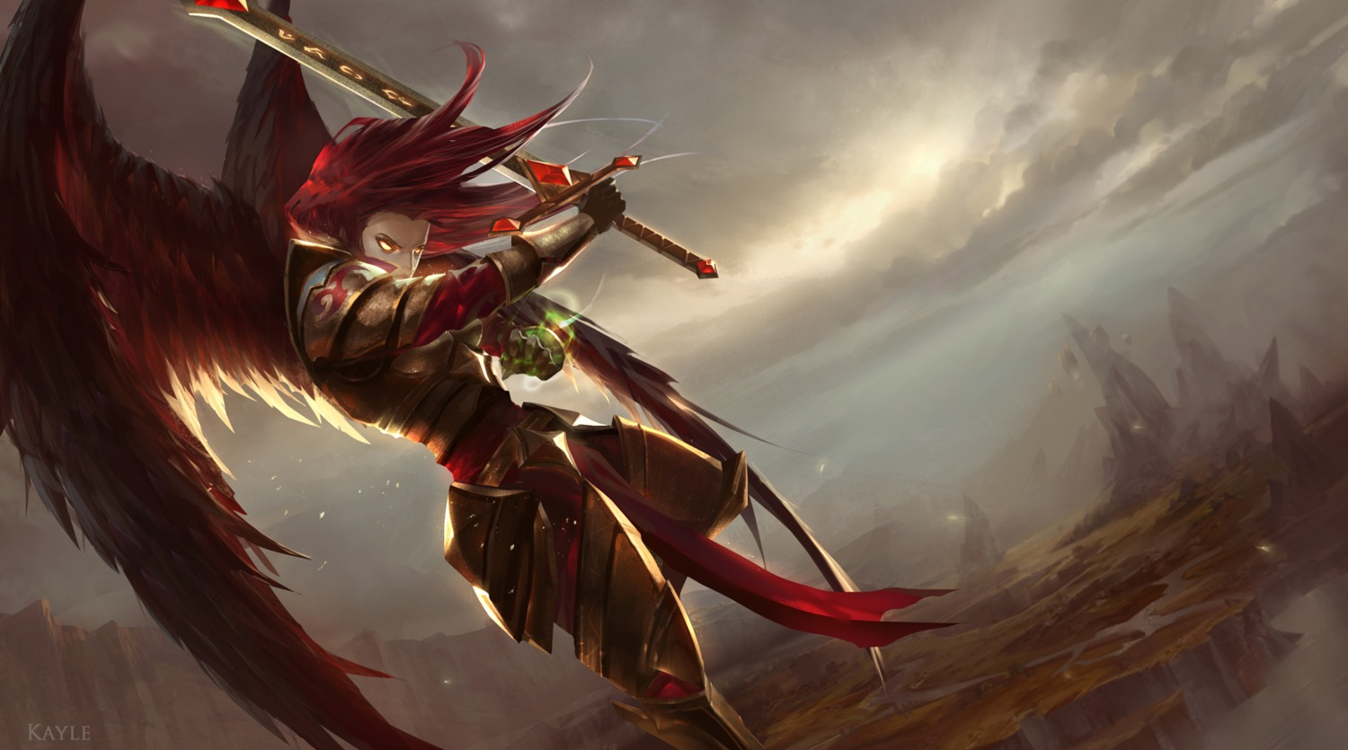 armor cabalfan kayle league_of_legends sword wings