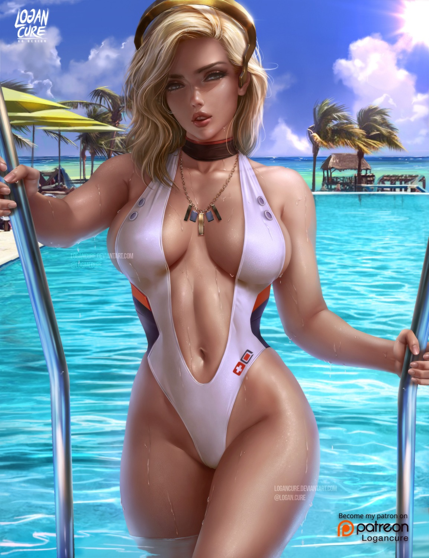 logan_cure mercy_(overwatch) overwatch swimsuits watermark wet