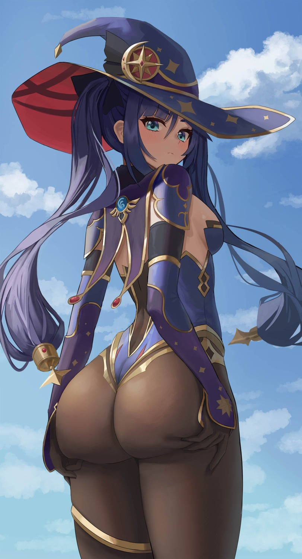 ass garter genshin_impact leotard mona_(genshin_impact) no_bra onedoo pantyhose witch