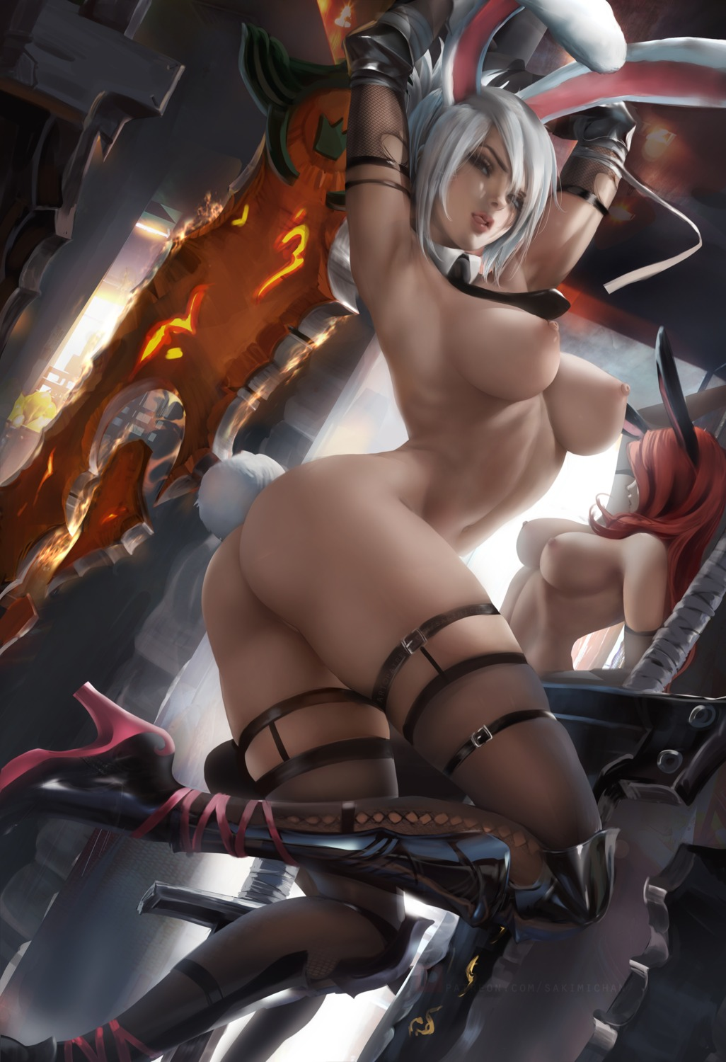 animal_ears ass bunny_ears garter heels league_of_legends miss_fortune naked nipples riven_(league_of_legends) sakimichan stockings sword tail thighhighs