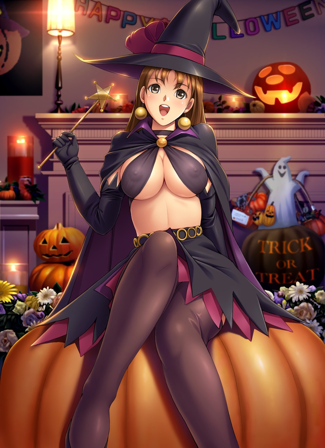 cleavage erect_nipples halloween harii pantyhose witch