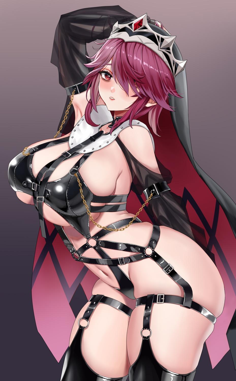 garter genshin_impact no_bra piukute062 rosaria_(genshin_impact) stockings thighhighs underboob