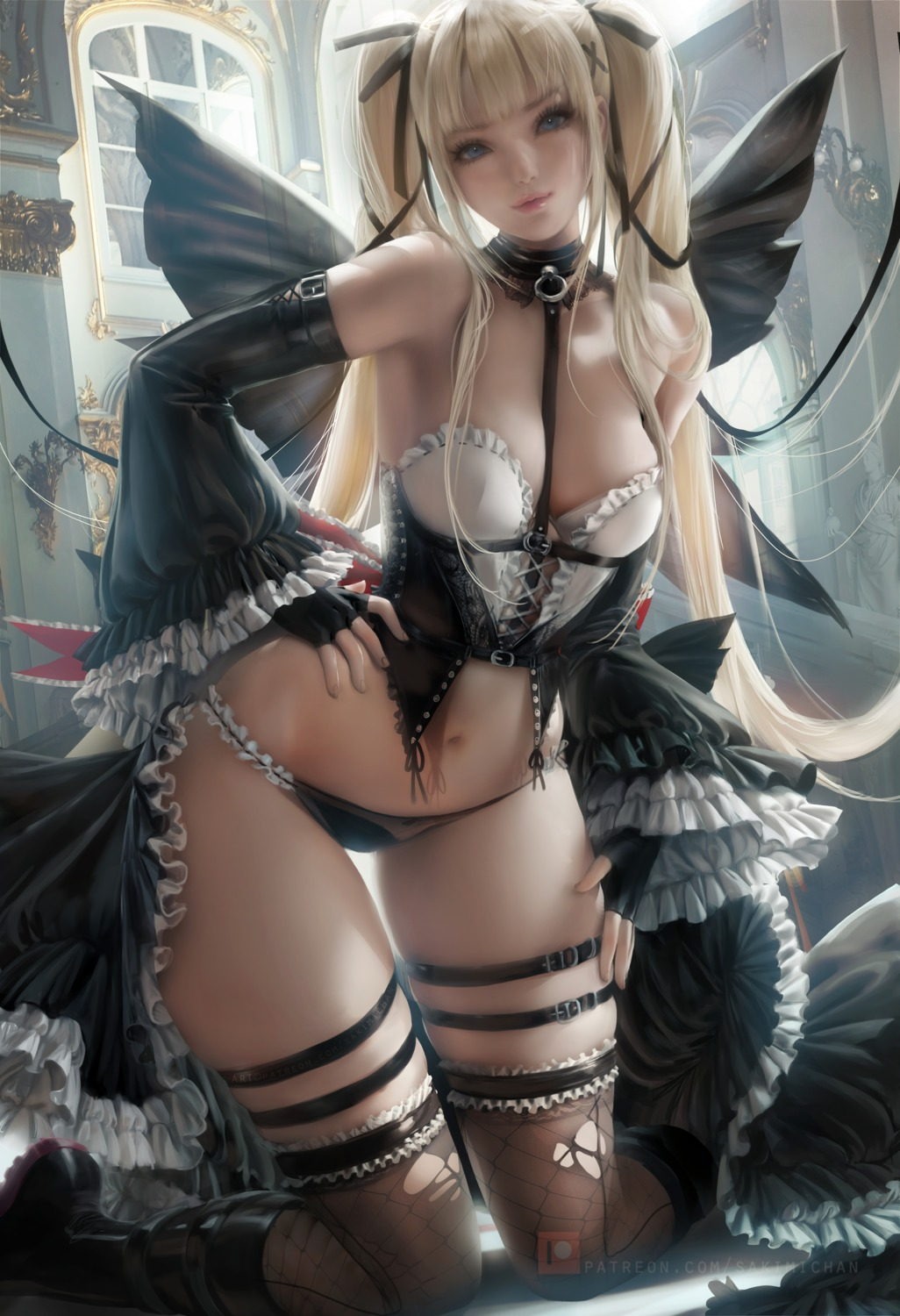 cleavage dead_or_alive_5 garter lingerie marie_rose pantsu sakimichan thighhighs torn_clothes wings