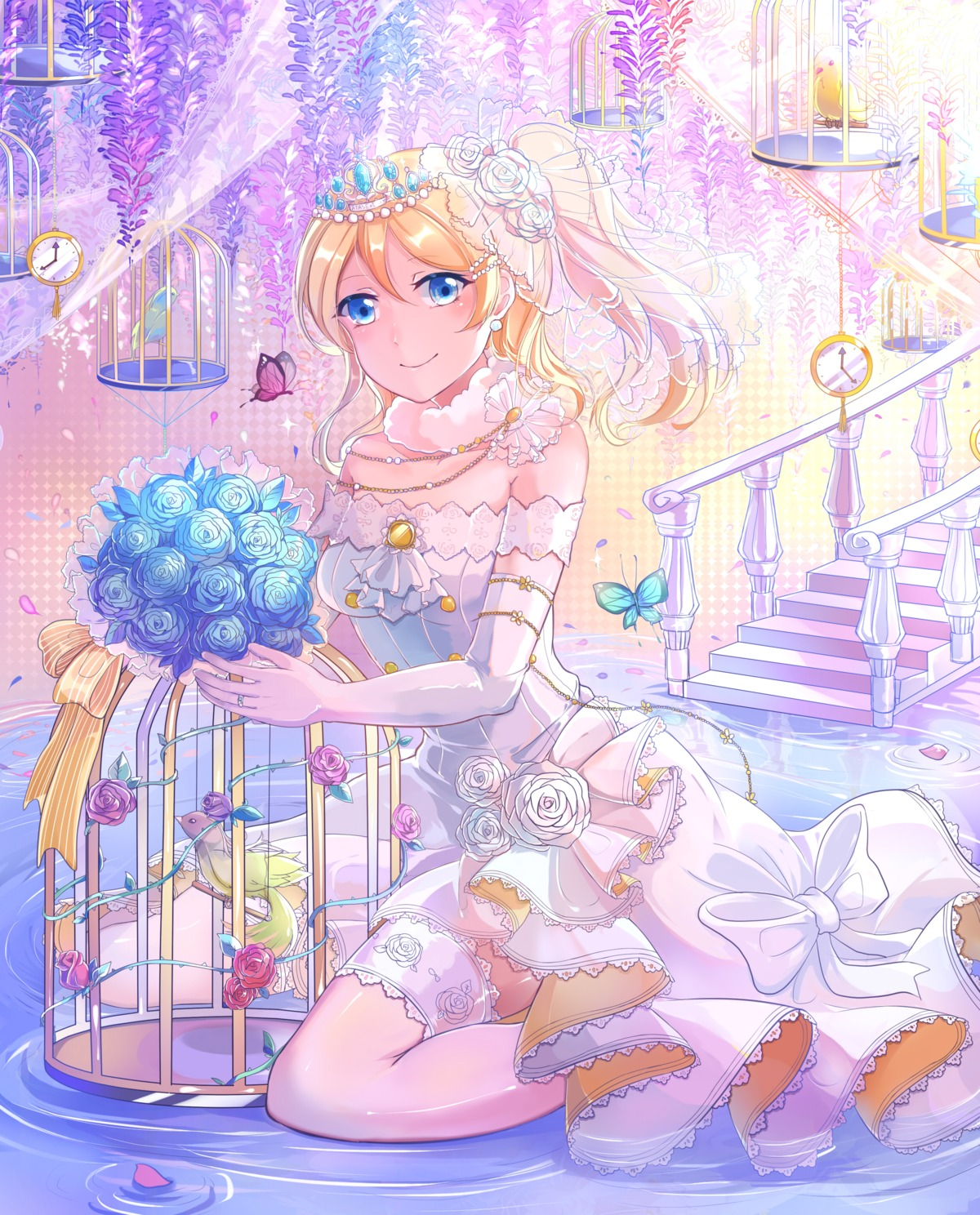 ayase_eli dress love_live! thighhighs wedding_dress xinghuo